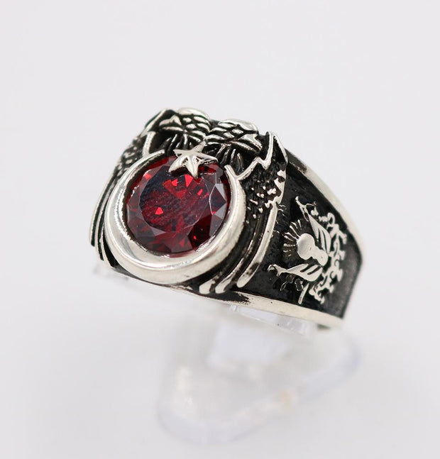 Tesbihane ring Men's Sterling Silver Ottoman Ring Crescent Moon & Eagle with Red Zircon 5269