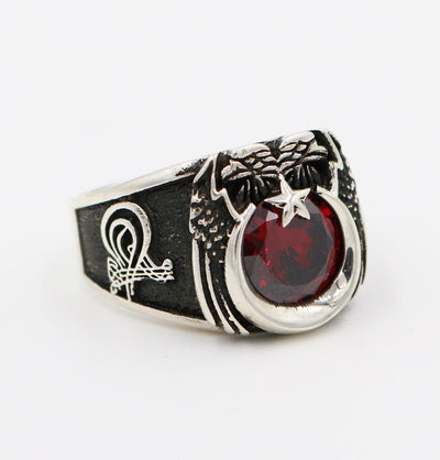 Men's Sterling Silver Ottoman Ring Crescent Moon & Eagle with Red Zircon 5269