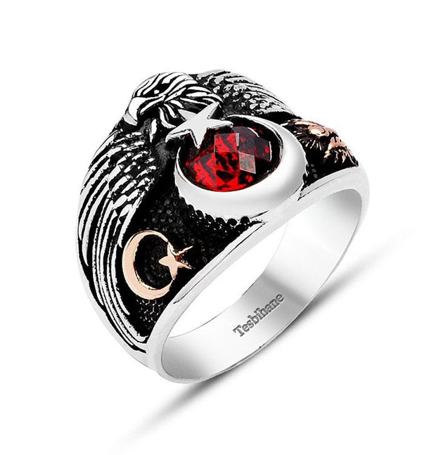 Tesbihane ring Men's Sterling Silver Ottoman Ring Seljuk Eagle and Crescent Moon and Star with Red Zircon
