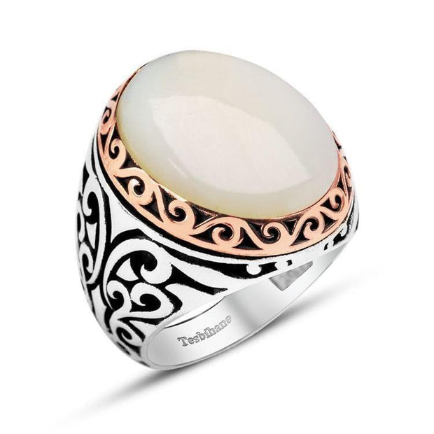 Tesbihane ring Men's Silver Ring with Pearl