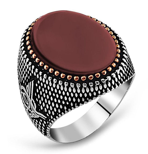 Tesbihane ring Men's Sterling Silver Ottoman Oval Agate Tughra with Fine Detailing Ring - Modefa