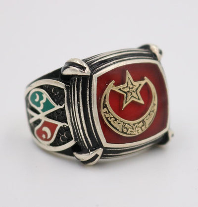 Men's Silver Turkish Islamic Ring Red Crescent Moon & Star with Flags 5201