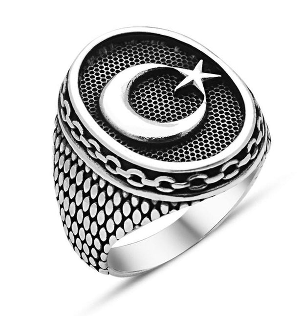 Tesbihane ring Men's Sterling Silver Islamic Oval Ring Crescent Moon & Star with Fine Detailing