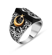 Tesbihane ring Men's Silver Turkish Islamic Ring Hand Crafted with Black Onyx and Crescent Moon