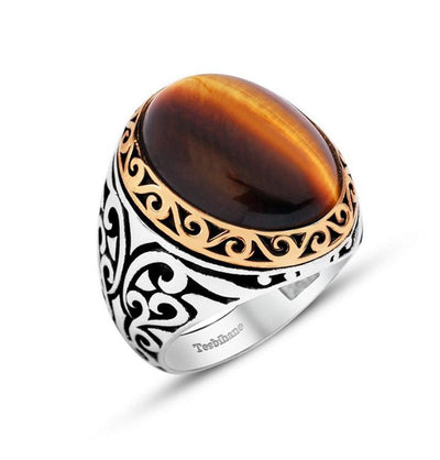 Tesbihane ring Men's Silver Ottoman Ring Tiger's Eye - Modefa
