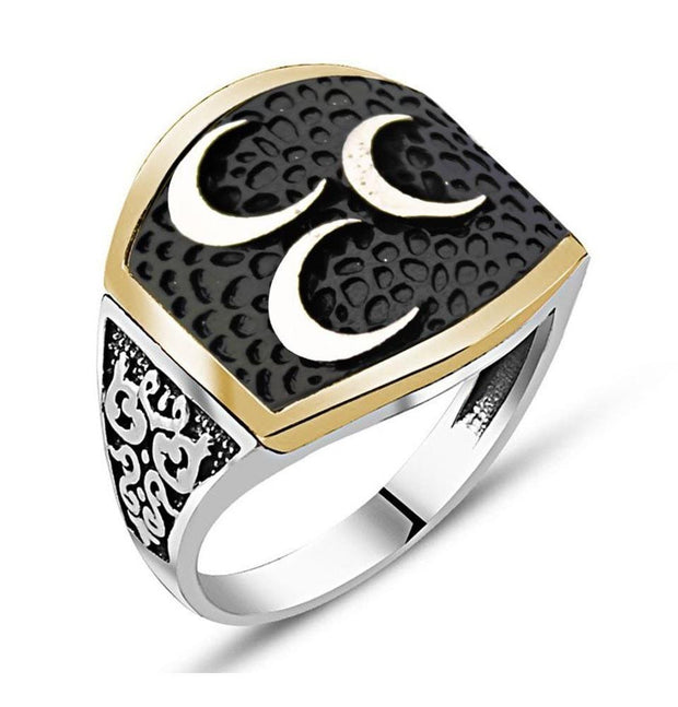 Tesbihane ring Black / Silver / 8.5 Men's Sterling Silver Islamic Fine Detailing with 3 Crescents Ring