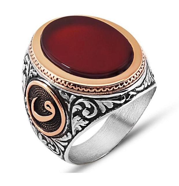 Tesbihane ring Red / Silver / 10.25 Men's Sterling Silver Ottoman Oval Red Agate Waw Ring