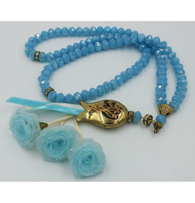Tesbihane Tesbih Luxury Acrylic Islamic Tesbih Light Blue and Gold with Roses and Tulip Tassel 99 Count