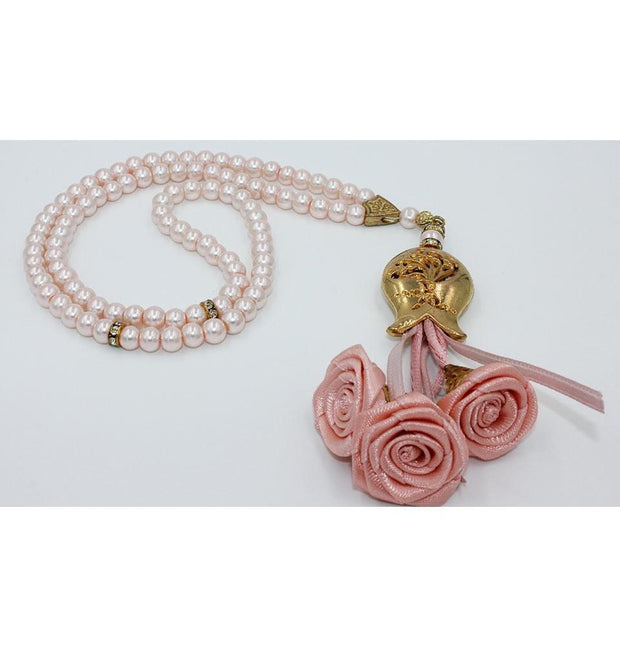 Tesbihane Tesbih Luxury Acrylic Islamic Tesbih Light Pink and Gold with Roses and Tulip Tassel 99 Count