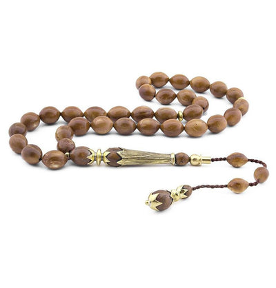 Tesbihane Tesbih Luxury Islamic Tesbih Oval 'Kuka' Wood 33 Count Beads Large - Modefa