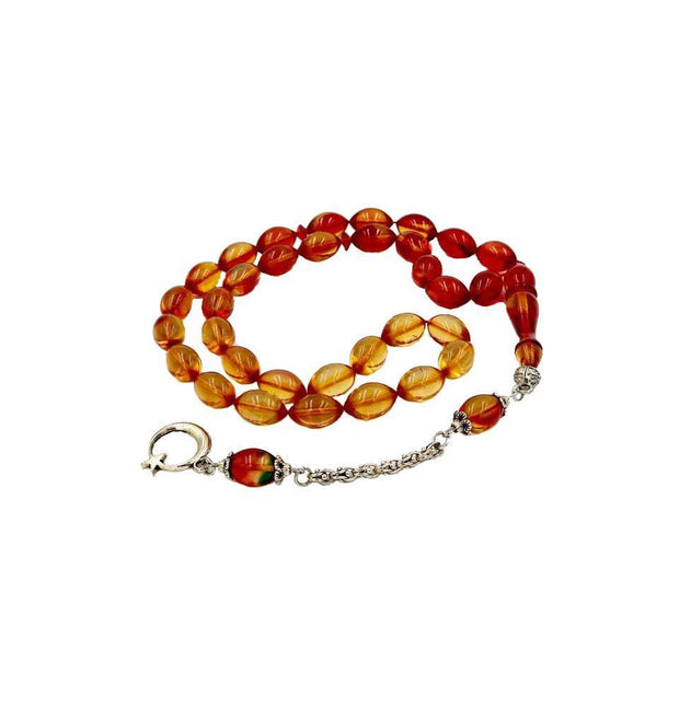 Tesbihane Tesbih Luxury Islamic Tesbih Oval Red & Yellow Amber with 33 Count Beads