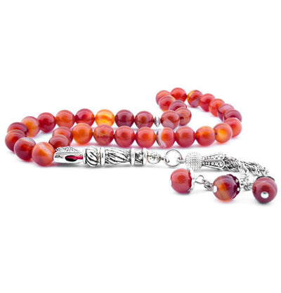 Luxury Islamic Tesbih Round Red and Multicolored Agate Stone 33 Count