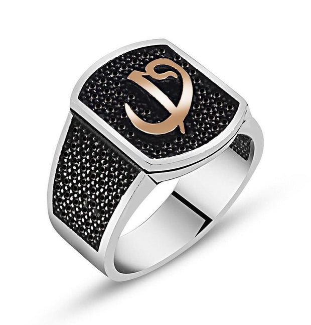 Tesbihane wholesale Men's Silver Islamic Square Ring Elif and Waw with Black Zircon - Modefa