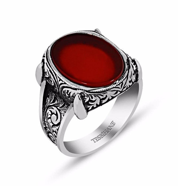 Tesbihane wholesale 9.75 / SIlver / Agate Men's Silver Ottoman Oval Design Ring Agate #067