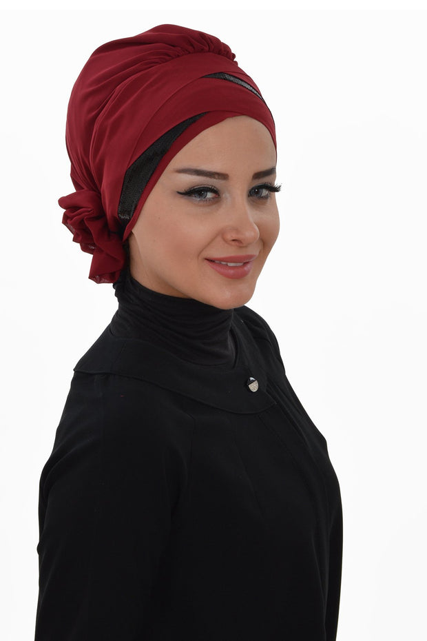 TesetturVeModa New Category Red Instant Chiffon Turban Hijab Sequin Red