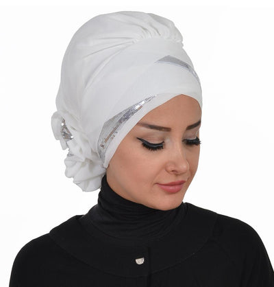 TesetturVeModa New Category White Instant Chiffon Turban Hijab Sequin Off-White