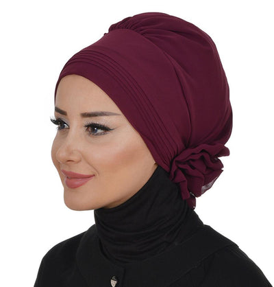 TestturVeModa New Category Instant Chiffon Turban Hijab Plum