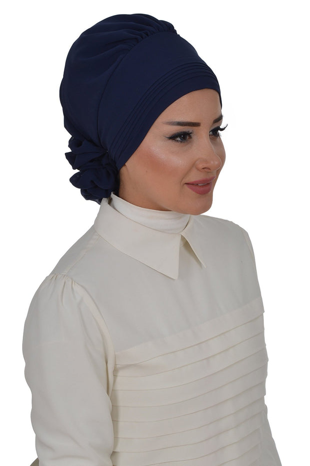 TestturVeModa New Category Navy Blue Instant Chiffon Turban Hijab Navy Blue