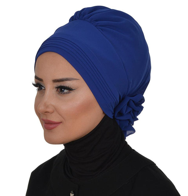Instant Chiffon Turban Hijab Royal Blue