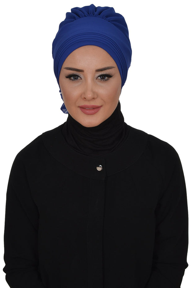 TestturVeModa New Category Royal Blue Instant Chiffon Turban Hijab Royal Blue