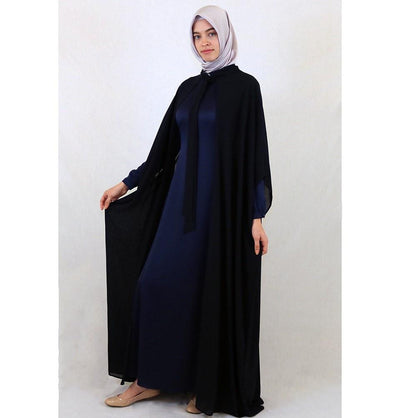 Tugba Dress Tugba Formal Dress with Chiffon Cape H6682 Blue