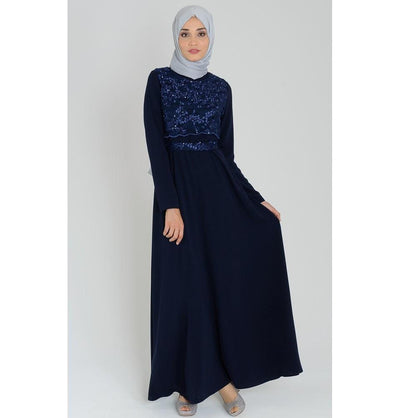 Tugba Dress Tugba Sequin & Lace Formal Dress H5333 Navy - Modefa