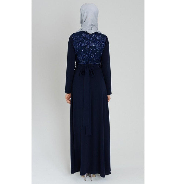 Tugba Dress Tugba Sequin & Lace Formal Dress H5333 Navy