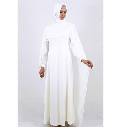 Tugba Dress Tugba Formal Dress with Chiffon Cape H5253 Ivory