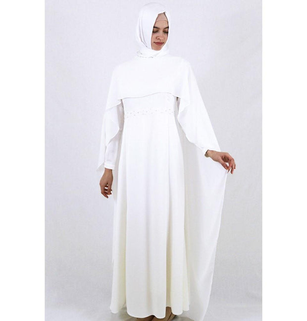 Tugba Dress Tugba Formal Dress with Chiffon Cape H5253 Ivory - Modefa