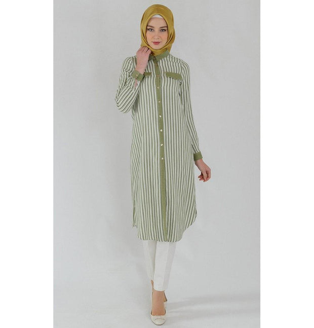 Tugba Tunic Tugba Islamic Women's Turkish Striped Tunic H8134 Green - Modefa