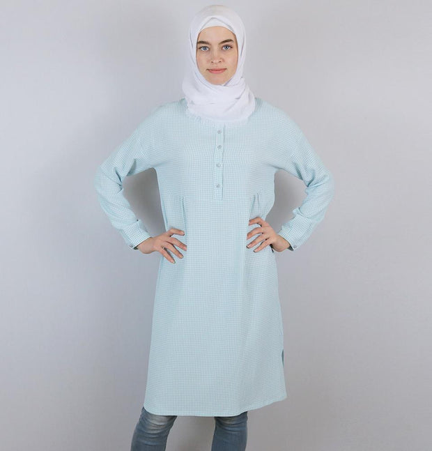 Tugba Modest Tunic M9412 Baby Blue/White