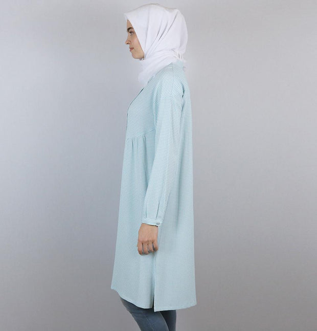 Tugba Tunic Tugba Modest Tunic M9412 Baby Blue/White