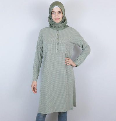 Tugba Modest Tunic M9412 Olive Green/White