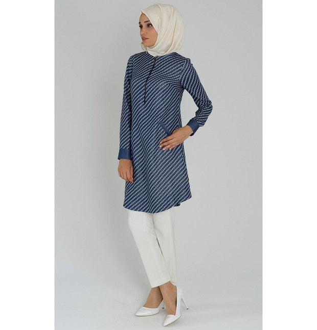 Tugba Tunic Tugba Islamic Women's Turkish Zigzag Tunic H1020 Navy