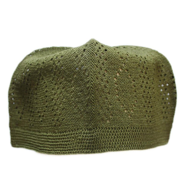 Urve Kufi Islamic Men's Knit Cotton Kufi Cap Dark Green - Modefa