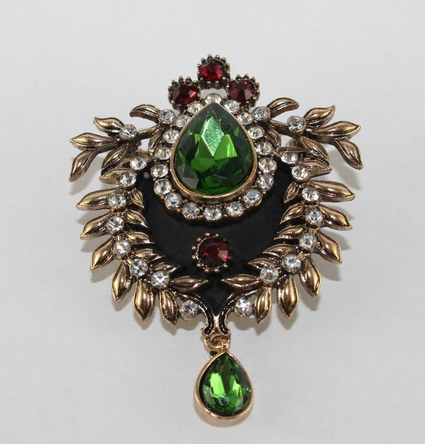 Visson Hijab Pins Green / Multi Turkish Jeweled Brooch 22315 Green