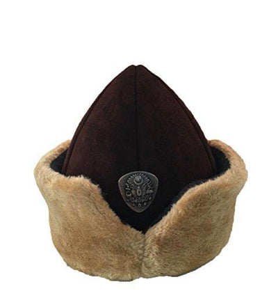 Ottoman Bork Ertugrul Fur Leather Hat Ottoman Coat Of Arms #1999BROWN