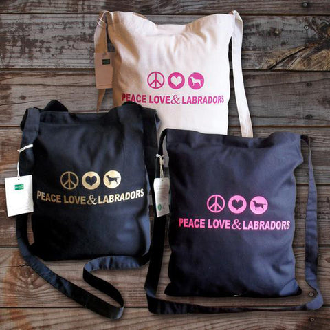 Peace, love and labradors tote bag