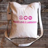 Cotton Peace, Love and Labradors tote bag