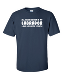 All I care about is my Labrador t-shirt - Navy