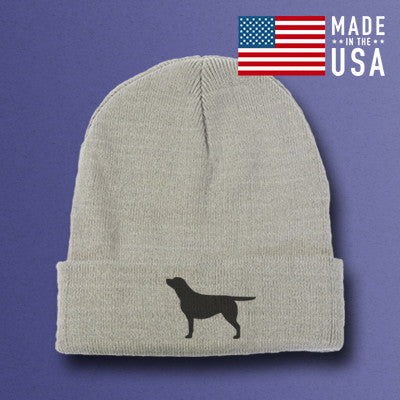 Gray Labrador Retriever beanie hat