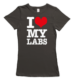 I love my labradors t-shirt - gray