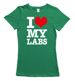 I love my labradors t-shirt - green