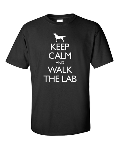 Keep Calm and Walk the Labrador T-Shirt - Black
