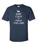 Keep Calm and Walk the Labrador T-Shirt -navy