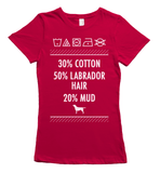 Labrador hair and mud t-shirt - red