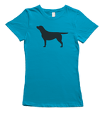 Black Labrador Silhouette T-Shirt - Bright Blue