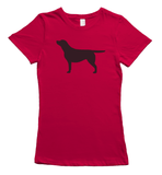 Black Labrador Silhouette T-Shirt - Red