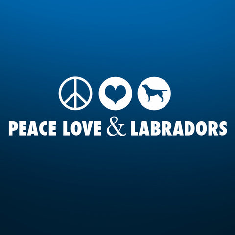 Peace, Love and Labradors vehicle decal