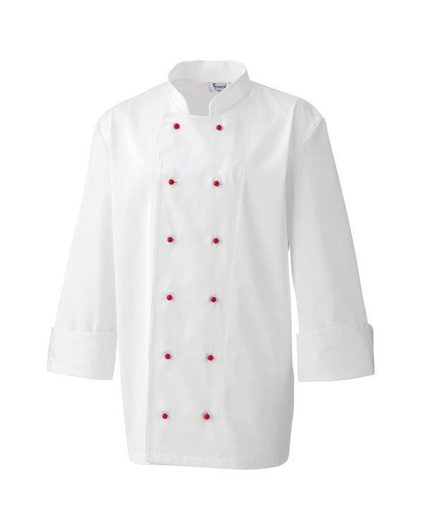 Chef's Jacket Studs Workwear from Premier branded with your logo or Design by York Workwear promoting you and your business